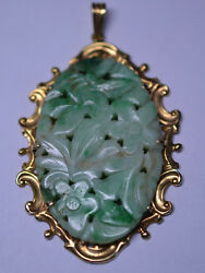 Vintage 18k Yellow Gold Large Oval Carved Bee Flowers Jade Pendant Scroll Frame