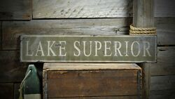 Custom Distressed Lake Superior Sign -rustic Hand Made Vintage Wooden