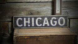 Custom Chicago Or Your City Sign - Rustic Hand Made Vintage Wooden