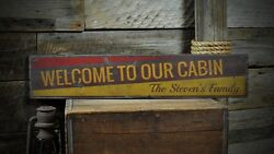 Custom Welcome To Our Cabin Sign - Rustic Hand Made Vintage Wooden