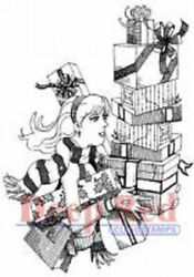 Deep Red Rubber Cling Stamp Christmas Shopper Girl With Gifts Presents
