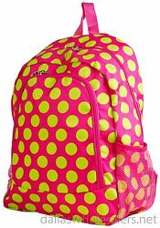 Personalized Backpack Book Bag Polka Dots Pink Lime Initial s Name Free 16quot;x12quot; $39.99