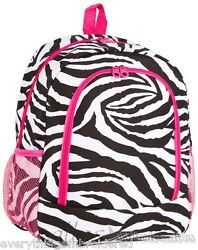 Personalized Backpack Book Bag Zebra Black White Pink Initial s or Name 16quot;x12quot; $39.99