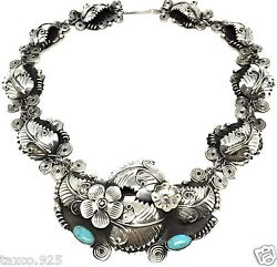 Vintage Design Taxco Mexican Sterling Silver Turquoise Flower Necklace Mexico
