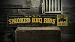 Custom Smoked Bbq Ribs City State Sign -rustic Hand Made Vintage Wood