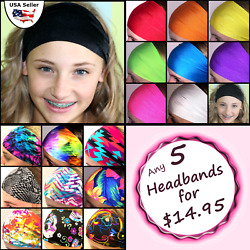 Wide Headbands Set of 5! Sports Workouts Fashion Bolder Brighter Colors Bands