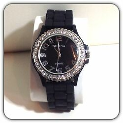 Geneva Womens Crystal Accented Watch Black Silicone