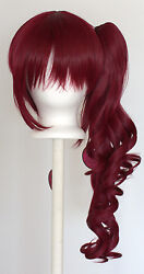23'' Curly Pony Tail + Base Burgundy Red Cosplay Wig NEW