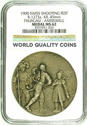 Swiss 1900 Silver Medal Shooting Fest Thurgau Amrisweil Ngc Ms62 R-1273a Rare