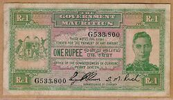 1940 Nd Kgvi Government Of Mauritius One Rupee Note Ex. Scarce