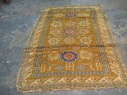 Antique Caucasian Russian Kuba Zeikhour Rug Hand Knotted Wool/wool 4'1x6' Yellow