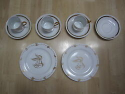 Rare 9 Pc Plate-cup-saucer-looney Tunes After 6 Series Gold Trim 1994 Wbss