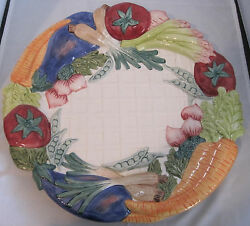 Fitz And Floyd Kitchen Harvest Vegetable Chip Server - Mint In Box