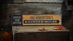 Custom Family Haunted House Sign - Rustic Hand Made Halloween Wooden