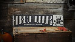 Custom House Of Horrors City Sign - Rustic Hand Made Halloween Wooden