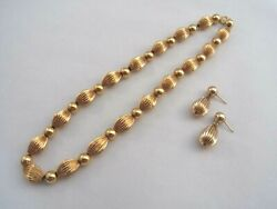 14k 14kt Yellow Vintage Gold Necklace And Earring Set Bead Textured Tubes
