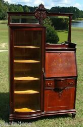 Antique Victorian Bowed Glass China Cabinet/drop Front Secretary-inlaid Front