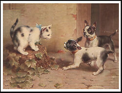 BOSTON TERRIER DOGS AND CAT LOVELY VINTAGE STYLE DOG PRINT POSTER