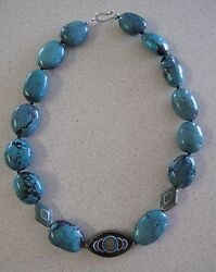 Turquoise Necklace Nuggets Stone Hand Made Chakra Nepal Beads 20 50cm