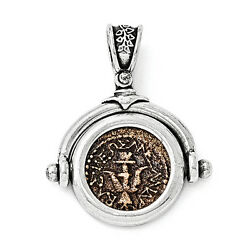 Coin Antique Pendant .925 Sterling Silver Bronze Charm Ancient Coins Widows Mite