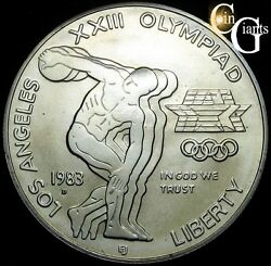 1983-d Los Angeles Olympics Commemorative Bu Silver Dollar Us Coin And Capsule 1