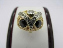 Vintage 14k Solid Gold Brown Star Sapphire And Diamond Ladies Or Menand039s Owl Ring