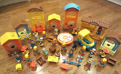Vintage Hub-bubs Lot 1975 Comfy Cottage And Fire Station School Home Store Etc...