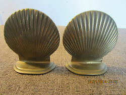 Pair Of, Nautical, Brass, Clam Shell Bookends