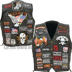 Mens Black Leather Motorcycle Vest With 42 Biker Patches Lace Up Side Waist Coat