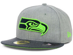 Official Seattle Seahawks Nfl Heather 2 Tone New Era 59fifty Fitted Hat