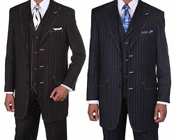 Men's High Fashion 3 Button Pinstripe Suit With Pants And Vest 5903