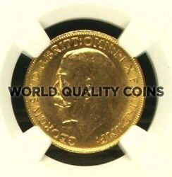 Canada 1911 C Gold Coin Sovereign George V Ngc Ms 63
