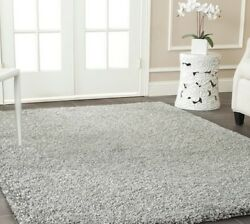 Silver Light Gray Solid Shag Area Rug Rugs 4 6 5 8 7 8 10 9 12 13 11 15 Grey New