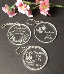 Personalized Custom Round Wedding Key Chain Favors Choice Of Design Qty Of 50