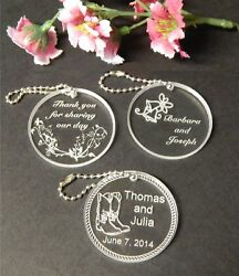 Personalized Custom Round Wedding Key Chain Favors Choice Of Design Qty Of 100
