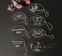 Personalized Custom Oval Wedding Key Chain Favors Choice Of Design Qty Of 100