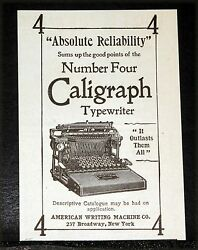 1897 Old Magazine Print Ad American Caligraph Typewriter Absolute Reliability