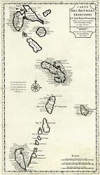Map Of French Vintage Caribbean West Indies Circa 1718 Barbados Martinique