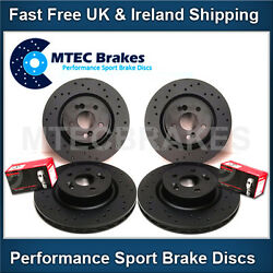 Vw Golf Mk5 R32 3.2 Black Front And Rear Drilled Brake Discs With Brembo Pads