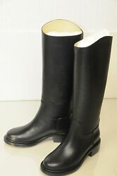 1725 New Black Calfskin Leather Knee High Riding Flat Boots Shoe 35 35.5