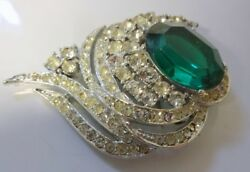 Vintage Signed Vendome Crystal Ice Clear Emerald Green Rhinestone Pin Brooch