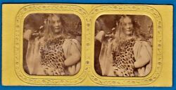Early Tinted Tissue Stereoview Photo Sexy Girl Goddess Or Fairy Stereo Ca 1860