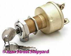 Marine Boat Rod Universal Brass Ignition Starter Key Switch 3 Pos Off-on-start