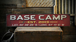 Custom Base Camp Est Date Lat / Long Sign - Rustic Hand Made Wooden