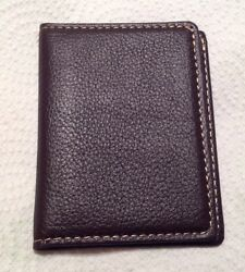 SET OF TWO CREDIT CARD ID CARD  HOLDERS - DARK BROWN LEATHER
