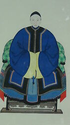 Antique Early 20c Chinese Large Gouache Ansestor Portrait In Blue And Yellow