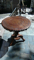 Unique Antique Mahogany Wood Middle East Round Table W/brassand Bovine Bone Inlay