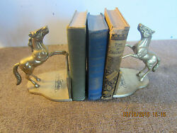 Pair Western Brass Horse Advertising Bookends
