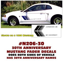 N206-30 Ford Mustang - 30th Anniversary Fader Decal Kit - Colors
