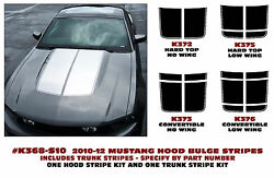 K368+ 2010-12 Ford Mustang Bulge Dual Hood And Trunk Stripe Decal Kit